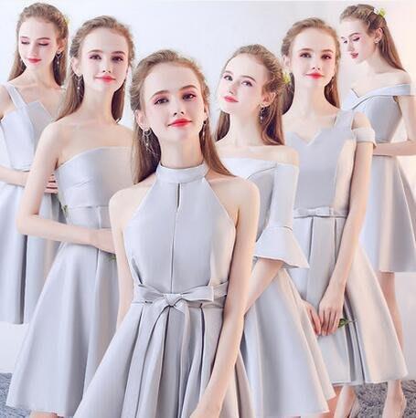伴娘團禮服 新款結婚姐妹團伴娘服 短款顯瘦  派對禮服連身裙 洋裝—莎芭