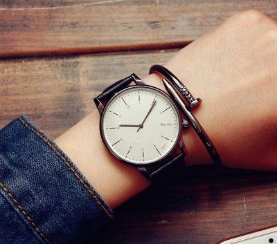 T3 韓國森林系皮帶手錶 情侶對錶 大錶面 夜店 白錶面 生日禮物 情人節禮物 男錶 女錶【H65】