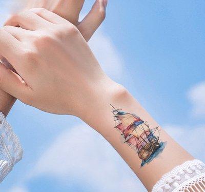 【萌古屋】帆船 - 男女防水紋身貼紙原宿刺青貼紙 RC-166