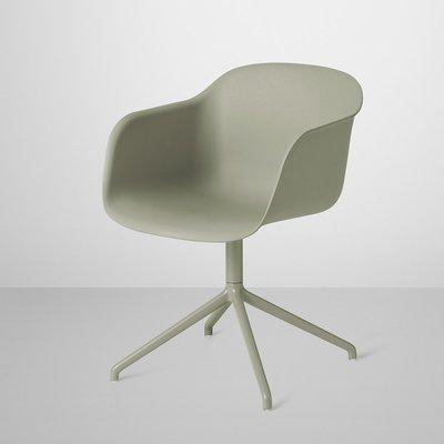 Luxury Life【正品】Muuto Fiber Armchair 木纖 扶手椅 可旋轉椅腳(綠色 / 綠色椅腳)