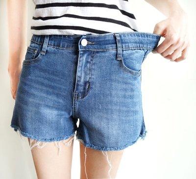 S~XL 前鈕扣拉鍊 後鬆緊 超顯瘦 超彈性 牛仔短褲NO.470-295