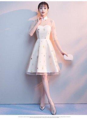 日和生活館 小禮服夏季韓版聚會立領中長版旗袍連身裙女S686