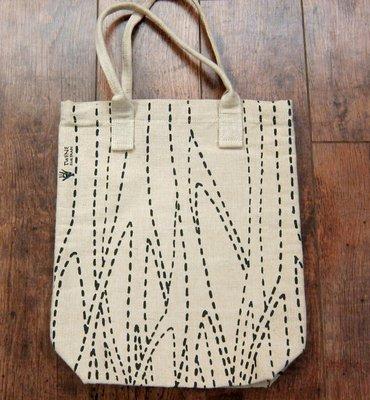 公平貿易繭裹子FAIR TRADE TWINE幾何樹紋圖案黃麻棉帆布包/手提包tote購物袋購物包文青書袋