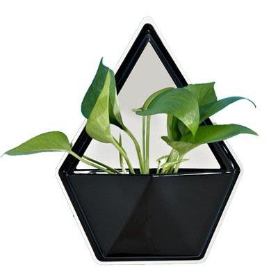 ☆[Hankaro]☆北歐簡約風個性幾何造型五角形黑銀款花器牆壁掛飾(微瑕疵出清)