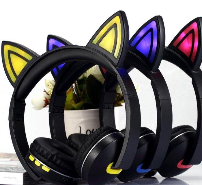 兒童禮品生日禮物 動漫卡通兒童貓耳朵LED帶燈發光頭戴式無線藍牙耳機藍  黃 粉三色可選