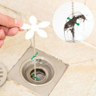 ☜shop go☞【M032】小花水管道疏通器 地漏 清潔 鉤條 毛髮 浴室 洗手檯 清除 頭髮 掛勾 鏈條