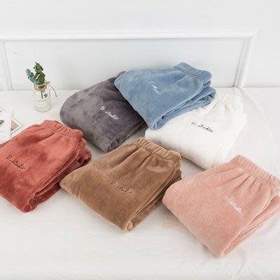 休閒褲 居家褲(1入)-珊瑚絨純色寬鬆加厚女長褲6色73pp632[獨家進口][巴黎精品]