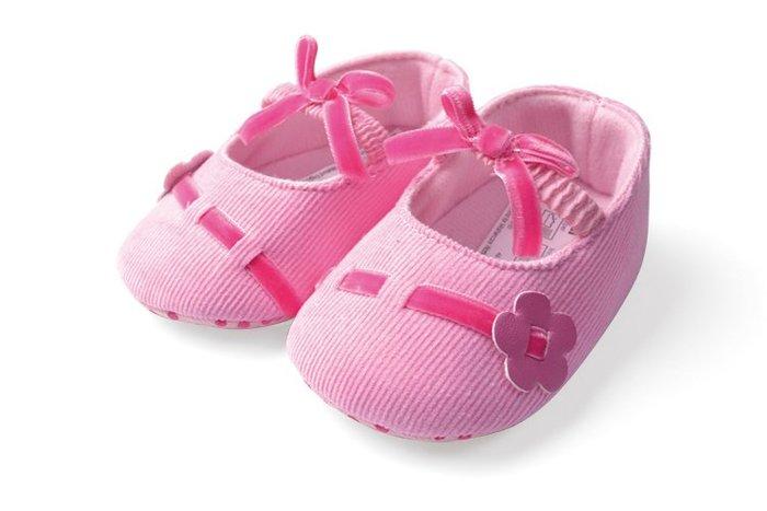 BHA144-Mothercare 粉色小花蝴蝶結嬰兒軟底防滑學步鞋【出清價】100元