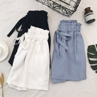 新品白色短褲女夏2019新款鬆緊腰顯瘦高腰闊腿褲韓版寬鬆五分休閒褲子