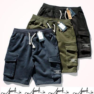 FRANKS歐美特進-素面短褲 純棉厚實 重磅 五分褲 口袋 工作短褲 夏天 短棉褲 海灘褲 寬鬆 中性 有大尺碼