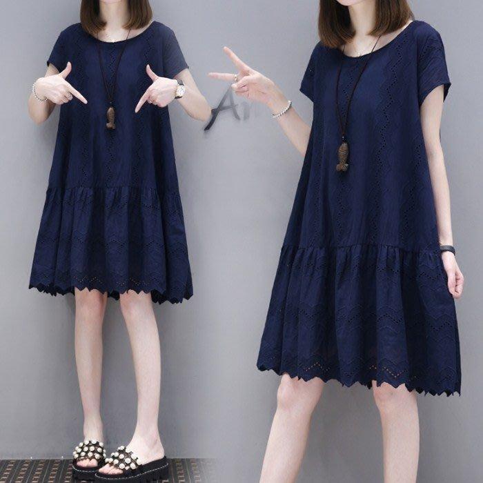 棉麻洋裝 2020夏季新款寬鬆大碼A字娃娃裙冷淡風夏中長款棉麻連身裙 站CXZJ
