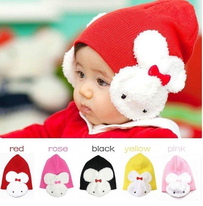 =寵喵百貨= 秋冬爆款 大兔子護耳帽 兒童帽 寶寶兔子嬰兒帽 套頭帽 針織帽 包頭帽 嬰兒帽 秋冬帽
