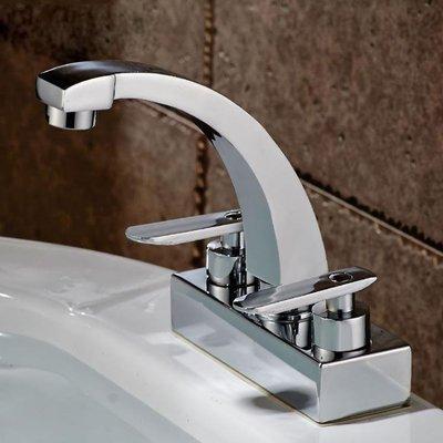 洗手間雙把雙孔面盆龍頭冷熱水雙開冷暖水龍頭臉盆旋轉純銅水龍頭XBD