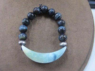 二手舖 NO.4009 天然玉石 翡翠A貨 黑水晶手鍊 手環 手珠 串珠 首飾飾品