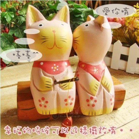 凱西美屋 原木小貓 情侶貓 親吻貓 生氣貓 工藝擺設 鄉村 田園