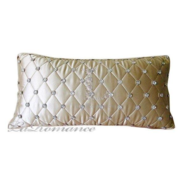 【芮洛蔓 La Romance】 Adela 系列晶亮菱格絲質緞面腰枕 - 香檳金