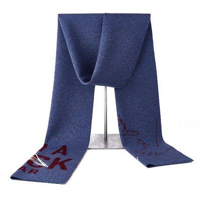 圍巾 羊毛 披肩-純色字母圖案針織男配件3色73wh8[獨家進口][米蘭精品]
