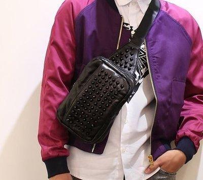 **蛻變英倫**韓國 紐約 歐美頂級款男士胸包真皮男包韓版羊皮女包包休閒斜挎單肩包運動背包