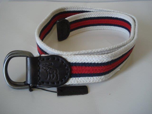 【天普小棧】A&F Abercrombie&Fitch Striped Woven Belt休閒棉布腰帶皮帶S/M