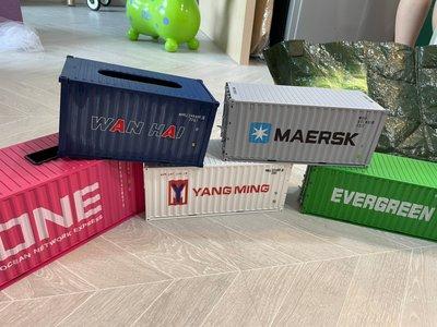 貨櫃NG區 長榮 萬海 陽明 ONE 船公司仿真貨櫃模型 衛生紙盒 海運