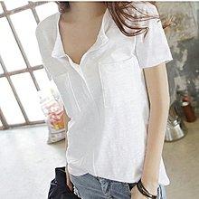 韓系 韓版 簡約短袖上衣 T恤 S-XXL/竹節棉白色女裝v領寬松大碼百搭半袖可搭短褲 T305