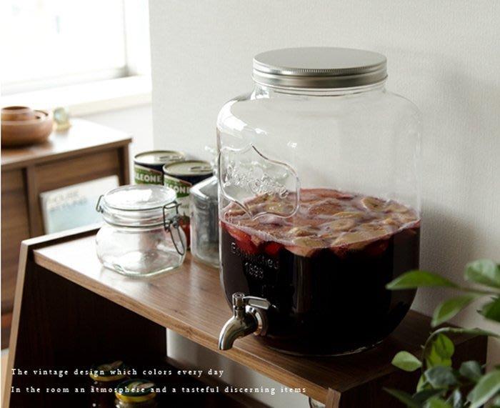 【MINE DECO 】【8L+不銹鋼龍頭】飲料桶/Mason瓶/玻璃瓶/冷飲瓶/梅森杯/果汁桶(現貨)M0166