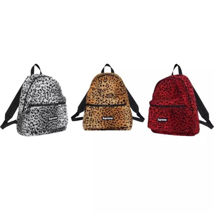 全新商品 Supreme 17FW Leopard Fleece Backpack 豹紋 後背包 背包 白色 黃色