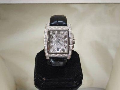 順利當舖 PIAGET/伯爵  伯爵特殊設計UPSTREAM向上型18K白金滿天星豪華男鑽錶