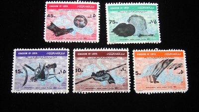 【大三元】歐洲郵票- 利比亞-新票5枚-原膠
