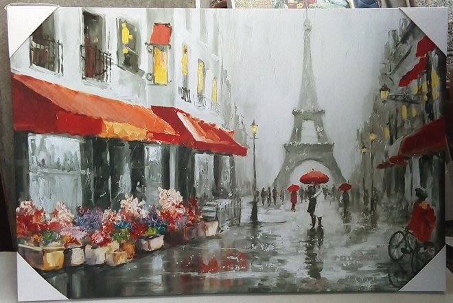 【浪漫349】帆布壁畫照片1 帆布畫 40*60CM   雨中鐵塔店家街角民宿餐廳