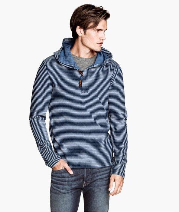 MISHIANA 休閒品牌 H&M 男生款棉質橫條連帽上衣 ( 新品新款上市.特價出售 )