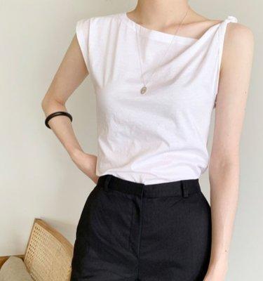現貨 VM 韓國chic法式百搭 減齡修身顯瘦 設計感露肩無袖T恤 2色
