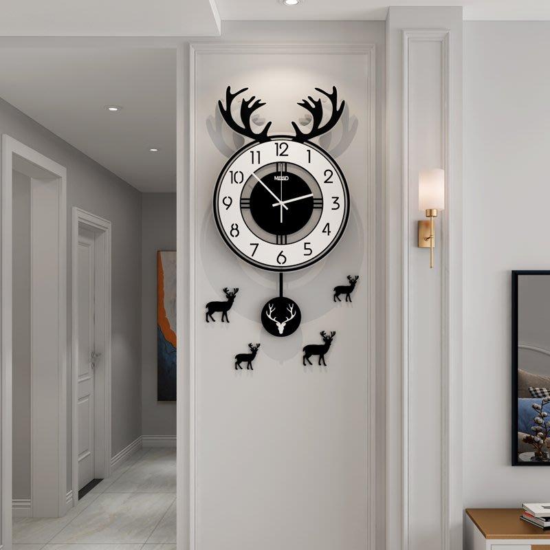 北歐個性鹿頭鐘表掛鐘創意家用時鐘客廳時尚簡約裝飾掛墻現代掛表小豬佩奇