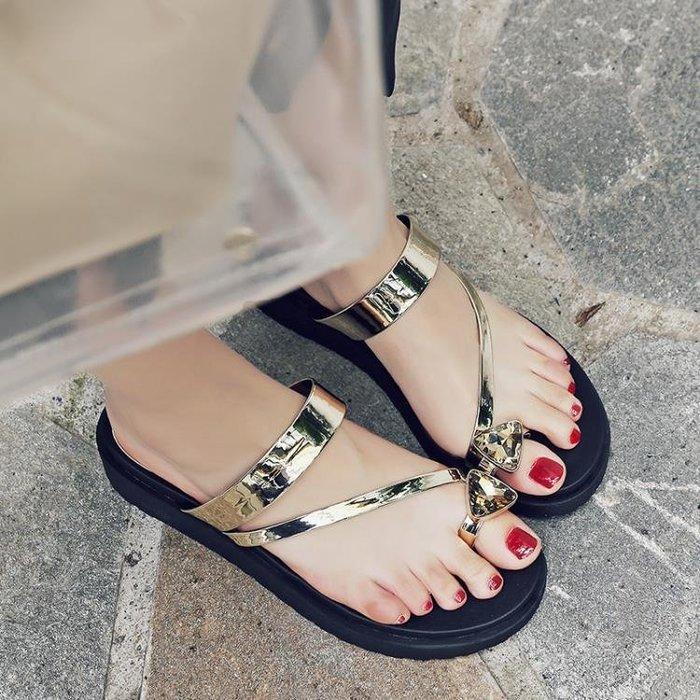 18夏韓版夾腳夾趾厚底防滑涼拖鞋簡約鬆糕底沙灘鞋真皮水?40拖