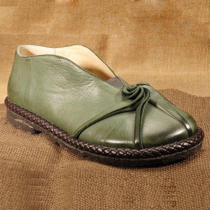 日和生活館 手工原創圓頭平跟復古單鞋頭層牛皮淺口拉線女鞋個性休閒平底女鞋 ZC179388