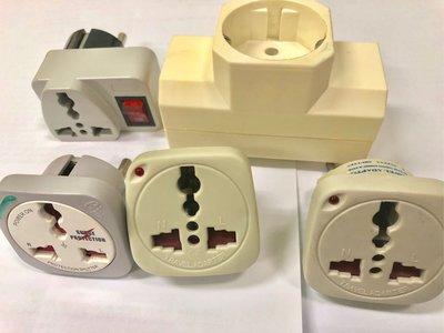 100%新「旅行用 type c e f」4個 圓腳 轉 方腳 三腳 萬能 插蘇 電源插座轉換器+1個 三分插,有fuse及開關和指示燈(原$150)