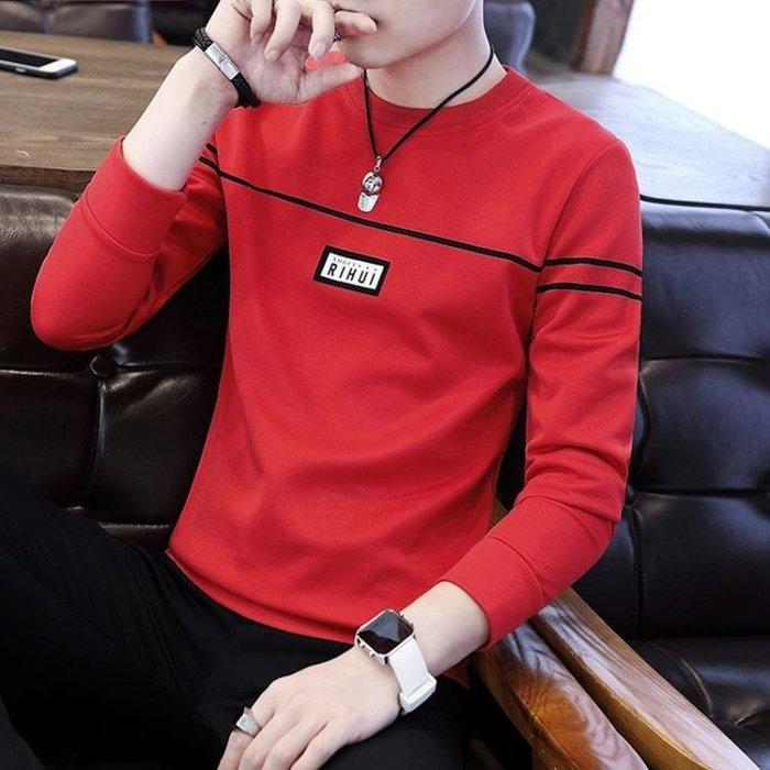 長袖T恤 男士男薄款圓領體恤打底衫秋季修身衛衣韓版男裝秋衣上衣