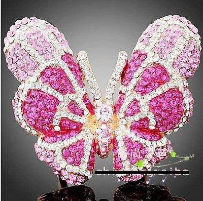 【Asiahito】批發義大利進口新款水晶戒指飾品食指尾指戒手飾動物蝴蝶