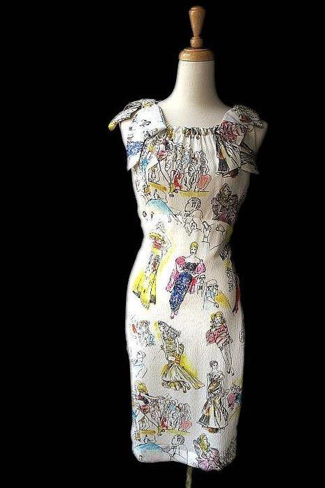 *Beauty*MOSCHINO米色圖案肩部蝴蝶結背心洋裝  原價46800元WE16