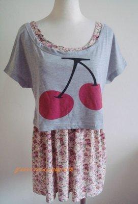 無袖紫色碎花縮腰背心高腰洋裝 灰色寬鬆櫻桃短版甜美上衣套裝連身裙