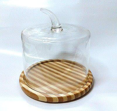 晴天咖啡☼ 竹盤蛋糕蓋14cm玻璃蛋糕罩 (甜點心罩蛋糕盤點心盤食物罩展示盤玻璃罩防塵罩乳酪盤麵包盤烘培西點盤水果盤)