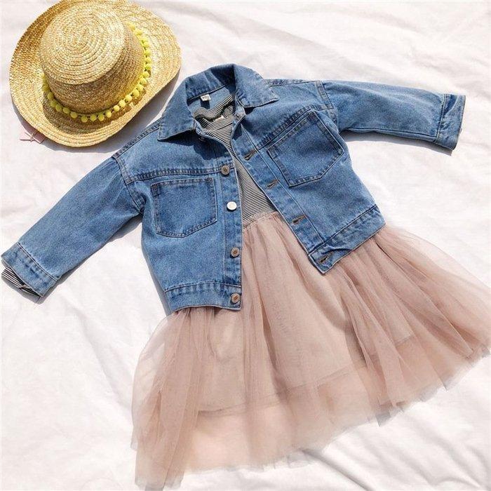 春 兒童   牛仔外套韓中小童 女童 工裝風牛仔夾克休閑外套
