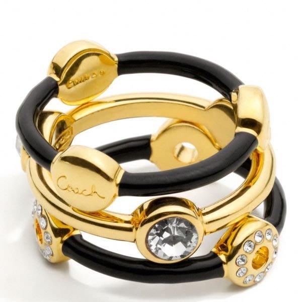 破盤清倉大降價!全新美國品牌 COACH 鍍金鑲水晶造型戒指指環,母親節情人節生日最佳禮!低價起標無底價!本商品免運費!
