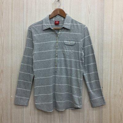 【愛莎&嵐】TOP GIRL 女 灰色條紋長袖POLO衫 / L 1070912