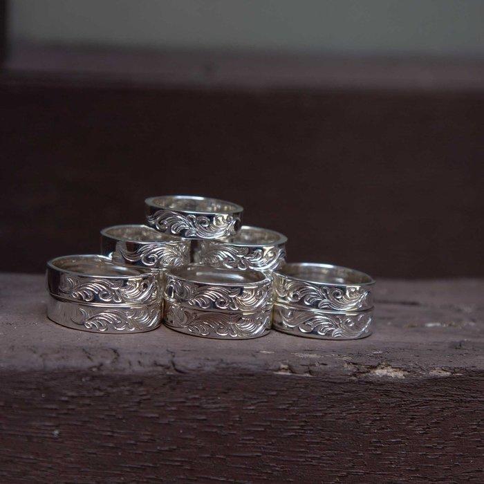 牛仔偵探 日本 DearBlossom 半唐草銀戒 經典外型 手工銀飾配件