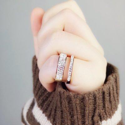 Lissom韓國代購~e 家懶人正韓個性時尚鑲鉆中食指戒指女鈦鋼鍍玫瑰金氣質指環尾戒