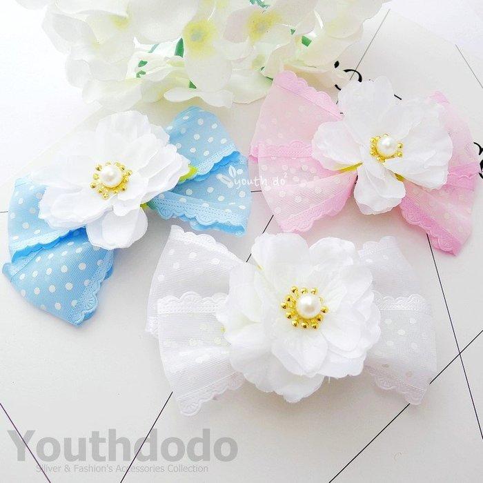 手工髮飾。日系少女珍珠花朵水玉點點網紗蝴蝶結鴨嘴夾髮夾共三色(SMP-2685)~*╮柚子多多╭*