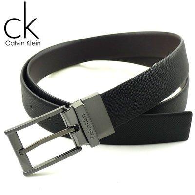【CK專櫃正品】◎全新美國Calvin Klein 鈦灰方扣防刮百搭雙面真皮帶 ◎附原廠盒+提袋