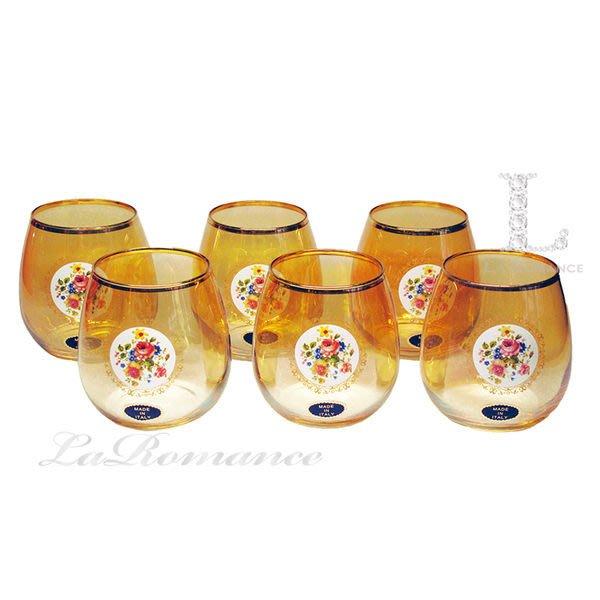 【芮洛蔓 La Romance】義大利 Art Décor 水晶玻璃花卉金黃杯組 (六入)