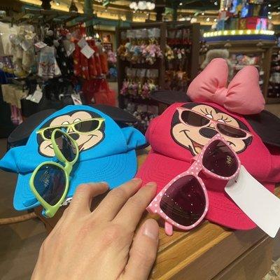 上海迪士尼米奇米妮帶墨鏡帽子鴨舌帽防曬帽子夏季帽子可調節帽子